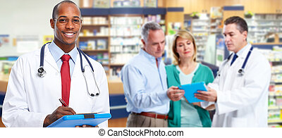 African-american doctor man. Health care medical background.
