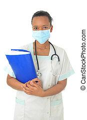 African American doctor nurse black stethoscope isolatedmetisse