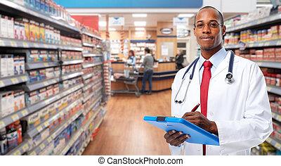 African-american Doctor pharmacist man.
