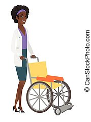 African-american doctor pushing empty wheelchair.