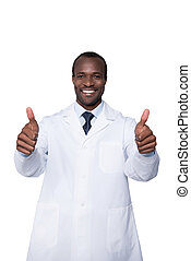 doctor showing thumbs up