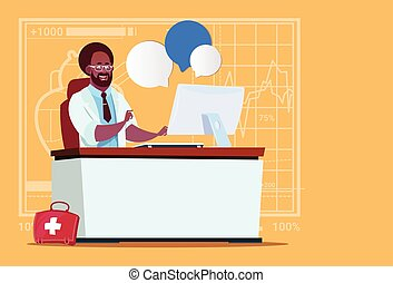 African American Doctor Sitting At Computer Online Consultation Medical Clinics Worker Hospital