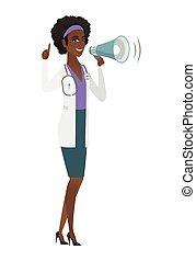 African-american doctor talking into loudspeaker.