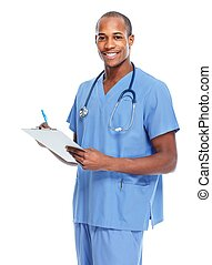African american doctor writing prescription.