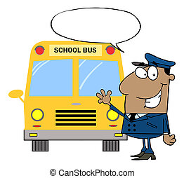 Friendly Caucasian School Bus Driver With A Word Balloon, Waving By A Bus