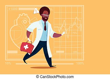 African American Emergency Doctor Run With Medicine Box First Aid Medical Clinics Worker Hospital