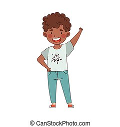 African American Emoji Boy Showing Thumb Up Hand Gesture in Approval Vector Illustration