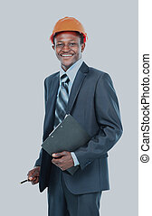African american engineer a over white background.
