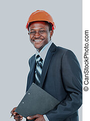 African american engineer a over white background