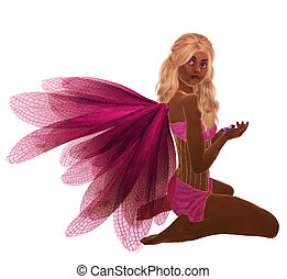 African American Fairy - Pink fairy with blonde hair,...