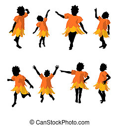 African American Fairy Girl Silhouette Illustration -...