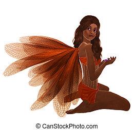 African American Fairy - Orange fairy with brunette hair,...