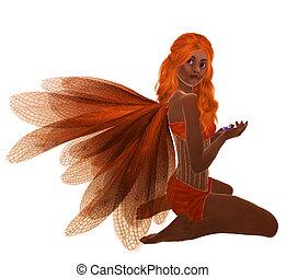 African American Fairy - Orange fairy with orange hair,...
