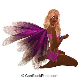 African American Fairy - Purple fairy with blonde hair,...