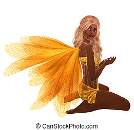 African American Fairy - Yellow fairy with blonde hair,...