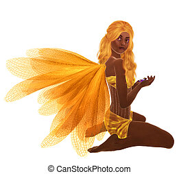 African American Fairy - Yellow fairy with yellow hair,...
