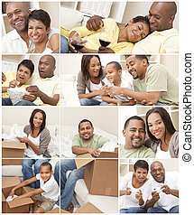 Attractive African American family and couple mother, father, son, man and woman at home having fun relaxing, eating, sitting, smiling, drinking wine, unpacking or packing boxes