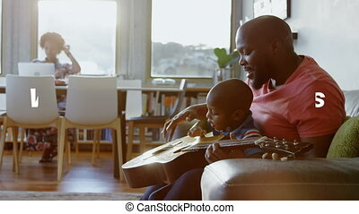 African American family and man playing guitar with word Together during coronavirus pandemic