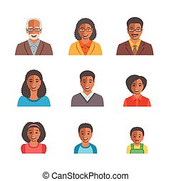 African American family happy faces flat avatars