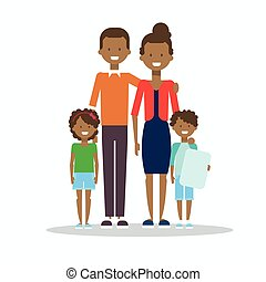 African American Family Happy Smiling Parents With Two Kids Embracing Isolated