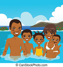 African American Family On Pool - Beautiful African American...