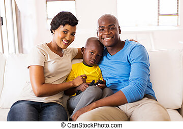 african american family sitting at home
