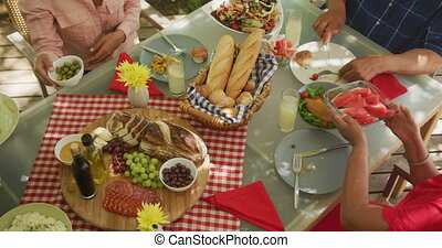 African American family spending time in garden together, sitting at a dinner table, eating and talking, in slow motion.