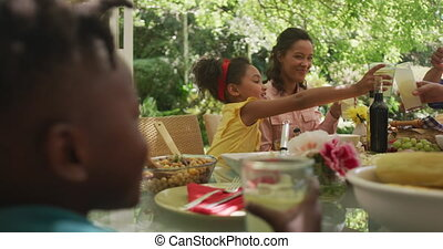 African American family spending time in garden together, sitting at a dinner table, holding lemonade and making a toast, in slow motion.