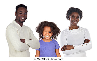 African-American family isolated on white background