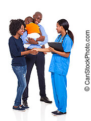 african american family with an intern nurse