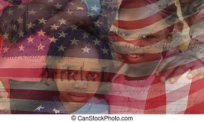 Animation of U.S. flag waving with U.S. Constitution text rolling over mixed race sibling standing by their parents. United States of America flag and holiday concept digital composition