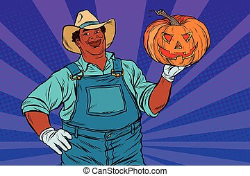 African American farmer with a Halloween pumpkin
