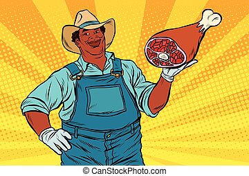 African American farmer with meat foot