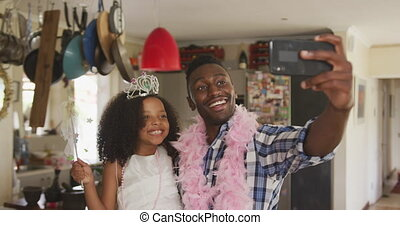 African american father and daughter disguised and taking ...
