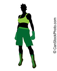 African American Female Boxer Illustration Silhouette -...