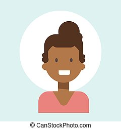African American Female Emotion Profile Icon, Woman Cartoon Portrait Happy Smiling Face