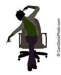African American Female Executive Sitting On An Office Chair...