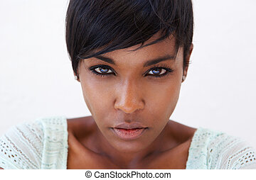 African american female fashion model face - Close up...