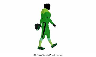 African american female football player walking on a white background