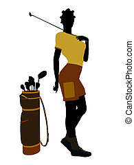 African American Female Golf Player Illustration Silhouette