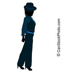 African American Female Jazz Dancer Silhouette