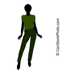 African American Female Office Illustration Silhouette