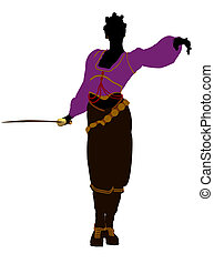 African American Female Pirate Silhouette