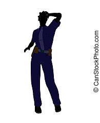 African American Female Police Officer Art Illustration Silhouette