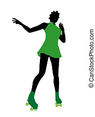 African American Female Roller Skater Silhouette