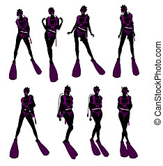 African American Female Scuba Diver Illustration Silhouette