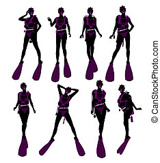 African American Female Scuba Diver Illustration Silhouette...