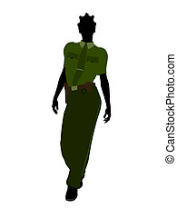 African American Female Sheriff Art Illustration Silhouette...