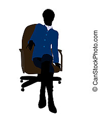 African American Female Sitting On An Office Chair Executive...
