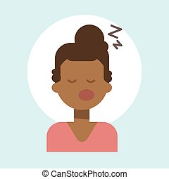 African American Female Sleeping Emotion Profile Icon, Woman Cartoon Portrait Happy Smiling Face